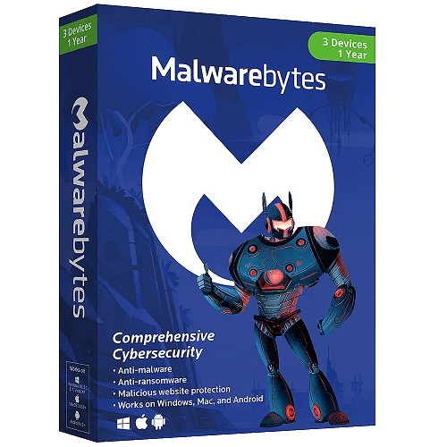Malwarebytes Premium Multi-Device - 1 Year, 3 Devices (Download)