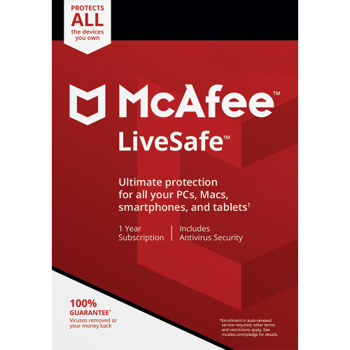 McAfee LiveSafe - 1 Year, Unlimited Devices (Download)