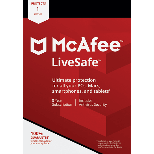 McAfee LiveSafe - 3 Year, 1 Device (Download)